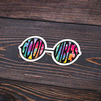 "Good Vibes Glasses Tie Dye - Pack Of 3 - 4"" Wide - Personalized Sticker - Die Cut"