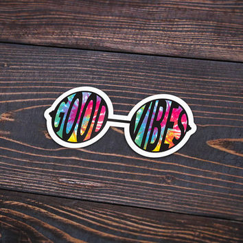 """Good Vibes Glasses Tie Dye - Pack Of 3 - 4"""" Wide - Personalized Sticker - Die Cut"""