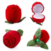 Romantic Rose Wedding Ring Earring Pendant Necklace Jewelry Display Gift Box (Size: 4.2cm by 4.2cm by 4.6cm, Color: Red) = 1932772164