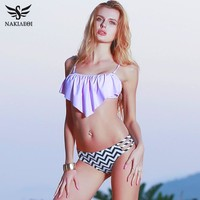 NAKIAEOI 2018 Sexy New Ruffle Vintage Bikinis Swimwear Women Swimsuit Bandage Solid Top Striped Cut Out Bottom Bathing Suit Swim