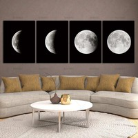 Modern Abstract Space Paintings on Canvas Wall Decor Canvas Black and White Pictures Photo Lunar Eclipse Prints Artwork Wall Art