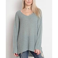 Dreamers - Lightweight Oversized V-Neck Pullover in Dust Aqua
