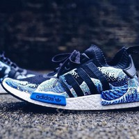 """""""Adidas"""" NMD PK Blue Waves Trending Fashion Casual Sports Shoes"""