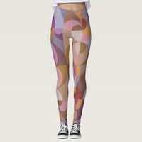 Geometric abstract retro circles in warm colors leggings