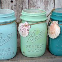 3 mason jars, blues, beach, wedding, turquoise, seafoam green, sea shell,distressed, pint jar, old, vintage