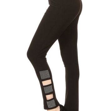 Rhinestone Embellished Black Leggings