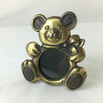 Vintage Hallmark Brass Teddy Bear Picture Frame Nursery Decor Baby Shower Gift Adorable Brass Bear With Bow Photo Frame Made in USA 1980's