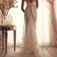 Custom made Satin and Lace Bateau Neckline Sweep Train A-Line Wedding Dress  made to order