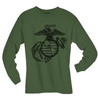 USMC Marines Eagle, Globe and Anchor Long Sleeve T-Shirt in Military Green