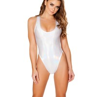 White Holographic Baywatch Rave Bodysuit
