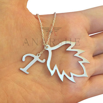 Personalized Leaf necklace in sterling silver, Leaf Necklace, Initial Necklace, Silver Leaf Necklace, Minimalist Necklace, Initial Jewelry