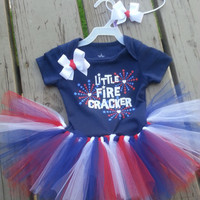LAST ONE - 4th of July Baby Outfit - 6-9 months - Onsie Set with Matching Bow Headband