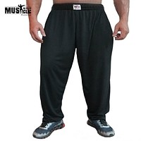 Men's  Bodybuilding Baggy Pants For Loose Comfortable Workout Trouser Lycra Cotton High Elastic Designed For Fitness,M,L,XL