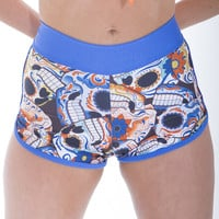 Sugar Skull Gym Fashion Shorts By Sassy Assy