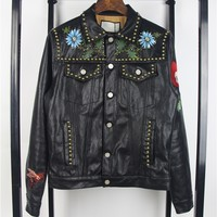 Indie Designs Gucci Inspired Hand-painted Flowers Embroidered Butterfly Calfskin Leather Jacket