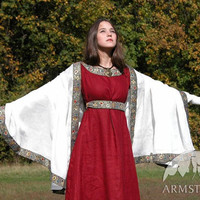 Medieval Franks Wine Red Dress, Underdress (Chemise) and Shawl