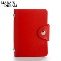 Mara's Dream 24 Bits Women Men Credit Card Holder PU Leather Hasp Unisex ID Holders Package Organizer Manager