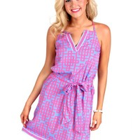 Derby Darling Pink And Blue Lattice Racerback Dress | Monday Dress Boutique