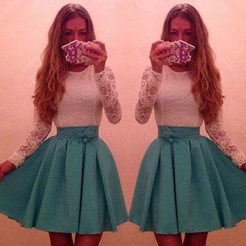 Lace Embroidered Long Sleeve Flounce Mini Skater Dress