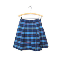 Tartan Skirt Plaid Mini Skirt School Girl PLEATED Blue High Waisted 80s Preppy Checkered Retro Vintage Lolita 1980s Small Extra Small XS