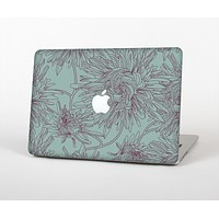 The Teal Aster Flower Lined Skin for the Apple MacBook Pro Retina 15""