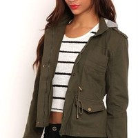 Light Weight Anorak with Drawstring Waist and Knit Hood