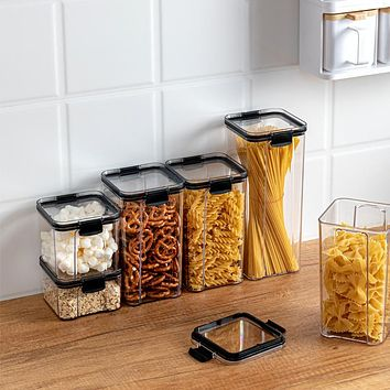 Airtight Cans Household Grains Kitchen Storage Boxes Food Grade Plastic Boxes Snack Nuts Dry Goods Storage Tanks
