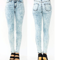 Popular High Waist Acid Mineral Light Wash Skinny Classic Denim Jean Pants 1~15