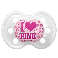 i love pink baby pacifiers