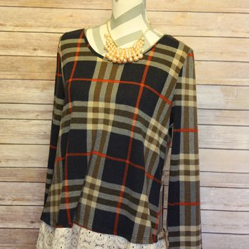 Plaid Top with Lace Trim