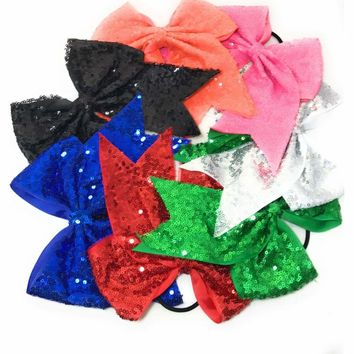 """7"""" Sequin Cheer Bows, Girls Sequin Bow Pony"""