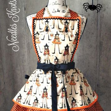 Halloween Witch Apron, Womens Witch Apron, Womens Aprons, Fall, Flirty Apron