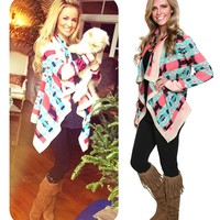 The Emily Cardigan with Mint and Coral Tribal Print