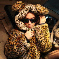 coat liner Picture - More Detailed Picture about A017luna leopard print ears hooded faux fur wool down jacket, women's winter coat with fur trim female Picture in Scarf, Hat & Glove Sets from SCIONE FASHION. Aliexpress.com | Alibaba Group