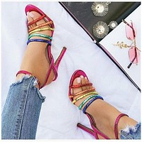 Summer new style ladies personality color strap high-heeled sandals