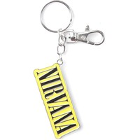Nirvana Stitch Logo Metal Key Chain Silver