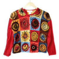 Pop Art Sunflower Cardigan Floral Tacky Ugly Sweater