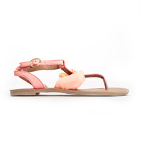 Earned It Sandals In Neon Coral