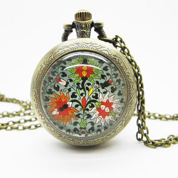 Vintage Glass Pocket Watch Necklace / Vintage Flower Necklace - Buy 3 Get 4th One Free  PW001
