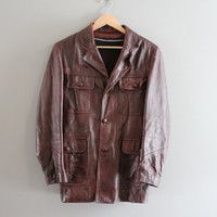 Chestnut Brown Leather Jacket Genuine Leather Parka 70s 80s Western Style Leather Blazer Unisex Vintage  Size M - L