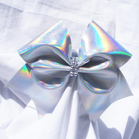 Cheer bow-Sliver holographic bow  rhinestone center-Cheerleading bow-Cheerleader bow-Dance bow-Softball bow-Cheerbow-made for me cheer bows