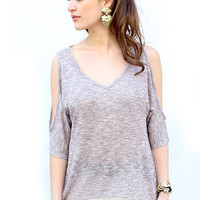 Open Shoulder Sahar Top in Taupe | New Age Queen
