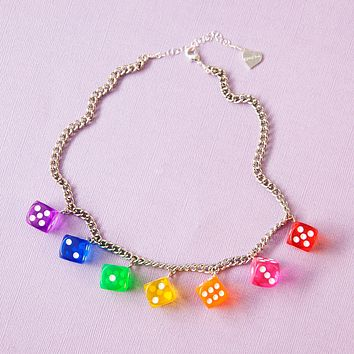Crystal Clear Dice Necklace