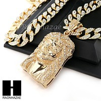 "Hip Hop 14k Gold Plated Jesus Face PAVE Pendant 30"" Cuban Link Chain N4"