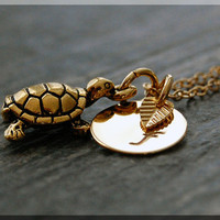 Gold Sea Turtle Necklace, Initial Charm Necklace, Personalized Necklace, Ocean Creature Charm, Turtle charm, Ocean Jewelry, Turtle Jewelry