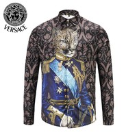 VERSACE Trending Popular Men Women Casual Print Long Sleeve Lapel Shirt Top