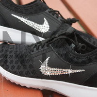 Blinged Nike Juvenate Shoes Black Customized With Swarovski Crystal Rhinestones New in Box Bling