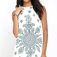 I Can Sea It Now Cream Print Dress