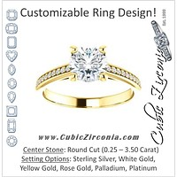 Cubic Zirconia Engagement Ring- The Ahimsa (Customizable Cathedral-set Round Cut Style with Pavé Band)