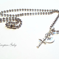 Initial Necklace, Cross Necklace, Silver Neckace, Charm Necklace, Handstamped Necklace (B51)